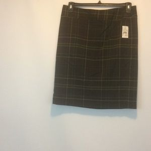 NWT Cato Plaid Brown Skirt Size 10